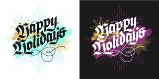 Kaarten van de Kerstmis de van letters voorziende groet Stock Afbeelding