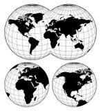 Kaarten van de wereld stock illustratie