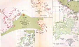Kaarten van het slagveld en de belegering van Yorktown royalty-vrije stock foto's