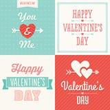 Kaarten van Hipster de typografische Valentine in pastelkleurcolo Royalty-vrije Stock Fotografie
