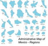 Kaarten van Mexicaanse gebieden stock illustratie