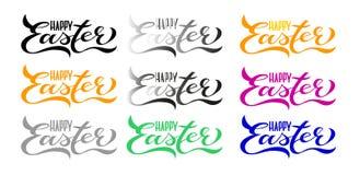 9 Kaarten van reeks de Gelukkige Pasen: Het met de hand geschreven Van letters voorzien vector illustratie