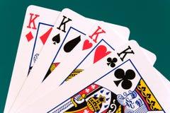 Kaarten vier kaarten 02 koningen stock foto's