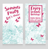 Kaarten voor de zomerpartij met tropisch decor en pauw stock illustratie
