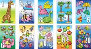 Kaarten voor jonge geitjes, cijfers, het onderwijs, opleiding, wiskunde Royalty-vrije Stock Afbeeldingen