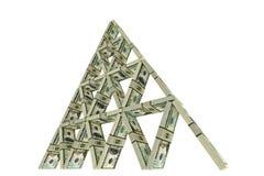 Kaartenhuis van dollarbundels die wordt gebouwd Royalty-vrije Stock Afbeelding