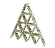Kaartenhuis van dollarbundels die wordt gebouwd Stock Illustratie