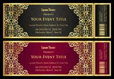 Kaartje van het luxe het zwarte en rode theater met gouden uitstekend patroon Stock Afbeeldingen