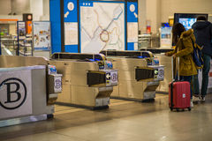 Kaartjespoort van trein in Kansai Internationale luchthaven Royalty-vrije Stock Foto's