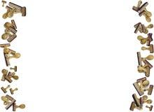 Kaartkader met veel houten zegels Stock Foto's