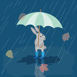 Kaartkonijntje in rubberlaarzen in de regen met paraplu, de herfst Royalty-vrije Stock Afbeeldingen