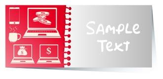 Kaartmalplaatje met computers op rode achtergrond stock illustratie