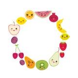 Kaartontwerp voor uw tekst, bannermalplaatje, ronde kaderaardbei, sinaasappel, banaankers, kalk, citroen, kiwi, pruimen, appelen, Stock Foto's