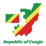 Kaartoverzicht en vlag van de Kongo, diagonale tricolor van A van groen, geel en rood die van de lagere hijstoestel zijhoek uitst Stock Afbeeldingen