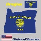Kaartoverzicht en vlag van Oregon, Verbinding van Oregon in goud op een azuurblauw gebied Boven de verbinding de tekststaat van O stock illustratie