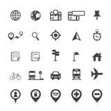 Kaartpictogrammen en Plaatspictogrammen Stock Afbeeldingen