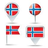Kaartspelden met vlag van NOORWEGEN vector illustratie