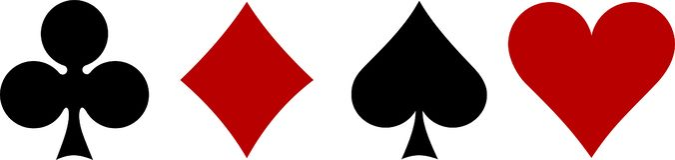 Kaartstokken, hart, spades, diamanten, klaver stock illustratie