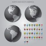 Kaartteller met het vlaggennoorden en Zuid-Amerika met bolreeks Stock Foto's