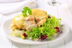 Kaas bedekte vissenfilets met salade Royalty-vrije Stock Foto