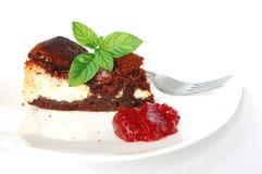 Kaas-brownie met frambozenjam Stock Afbeelding