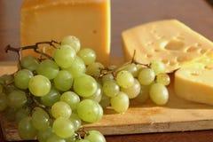 Kaas, druiven, ontbijt, het eten Stock Foto