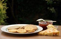 Kaas en Crackers Stock Afbeeldingen