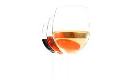 Kaas en drie glazen wijn stock fotografie