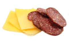 Kaas en Salami royalty-vrije stock afbeelding