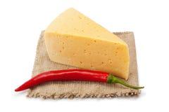 Kaas en Spaanse peperpeper op doek Royalty-vrije Stock Foto