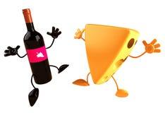 Kaas en wijn vector illustratie