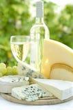Kaas en wijn stock fotografie