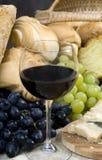 Kaas en Wijn 8 van het brood Royalty-vrije Stock Foto's