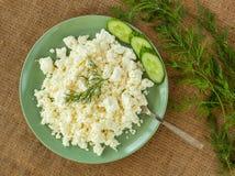 Kaas in groene plaat op linnenachtergrond met twijg van kruiden Stock Fotografie