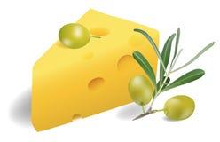 Kaas met olijven Royalty-vrije Stock Foto