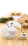 Kaas met witte vorm en kruiden stock fotografie