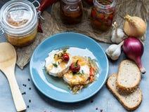 Kaas met witte vorm Hermelin met ui en hete peper Heerlijke Snack royalty-vrije stock foto