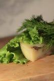 Kaas op een blad van salade Stock Afbeelding