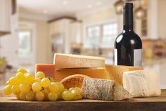 Kaas, wijn en druiven Royalty-vrije Stock Fotografie