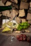 Kaas, wijn en druiven - een smakelijk diner royalty-vrije stock afbeelding