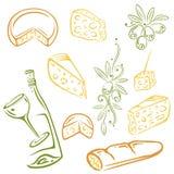 Kaas, wijn, olijven Royalty-vrije Stock Afbeeldingen