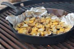 Kaasachtige aardappels in een gietijzerkoekepan Stock Foto