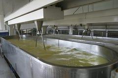 Kaasbereidingsmachine in moderne zuivelfabriek Stock Afbeeldingen