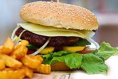Kaashamburger met Frieten stock afbeeldingen