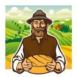 Kaasmaker, landbouwer, kaasbrood, landschapsachtergrond royalty-vrije illustratie