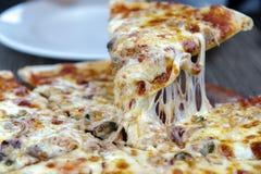 Kaaspizza op de plaat royalty-vrije stock afbeeldingen