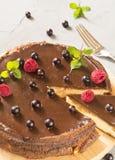 Kaastaart met chocolade en bessenframboos en zwarte bes en munt op grijze achtergrond Stock Foto