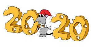 2020 in kaasvorm met hongerig karakter Jaar van de rat Ge?soleerdeo illustratie stock illustratie