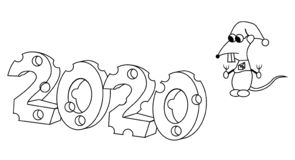 2020 in kaasvorm met hongerig karakteroverzicht Jaar van de rat Ge?soleerde voorraad vectorillustratie stock illustratie