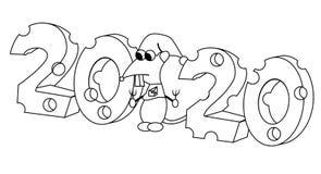 2020 in kaasvorm met hongerig karakteroverzicht Jaar van de rat Ge?soleerde voorraad vectorillustratie vector illustratie